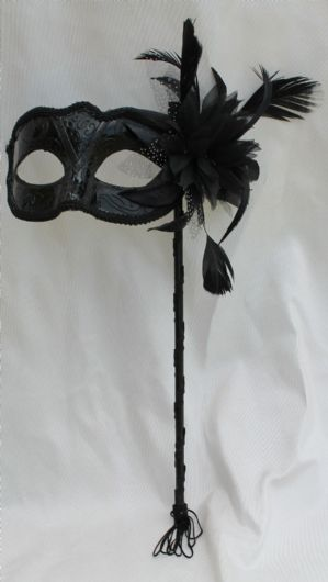 Black Masquerade Mask - Mask on a Stick | Masks and Tiaras